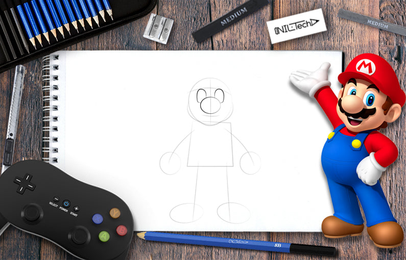 How to draw Mario hero step by step tutorial