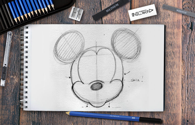 How to draw Mickey mouse step by step tutorial
