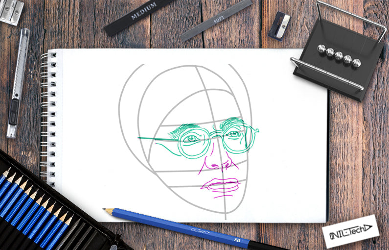How to draw Stephen Hawking step by step tutorial