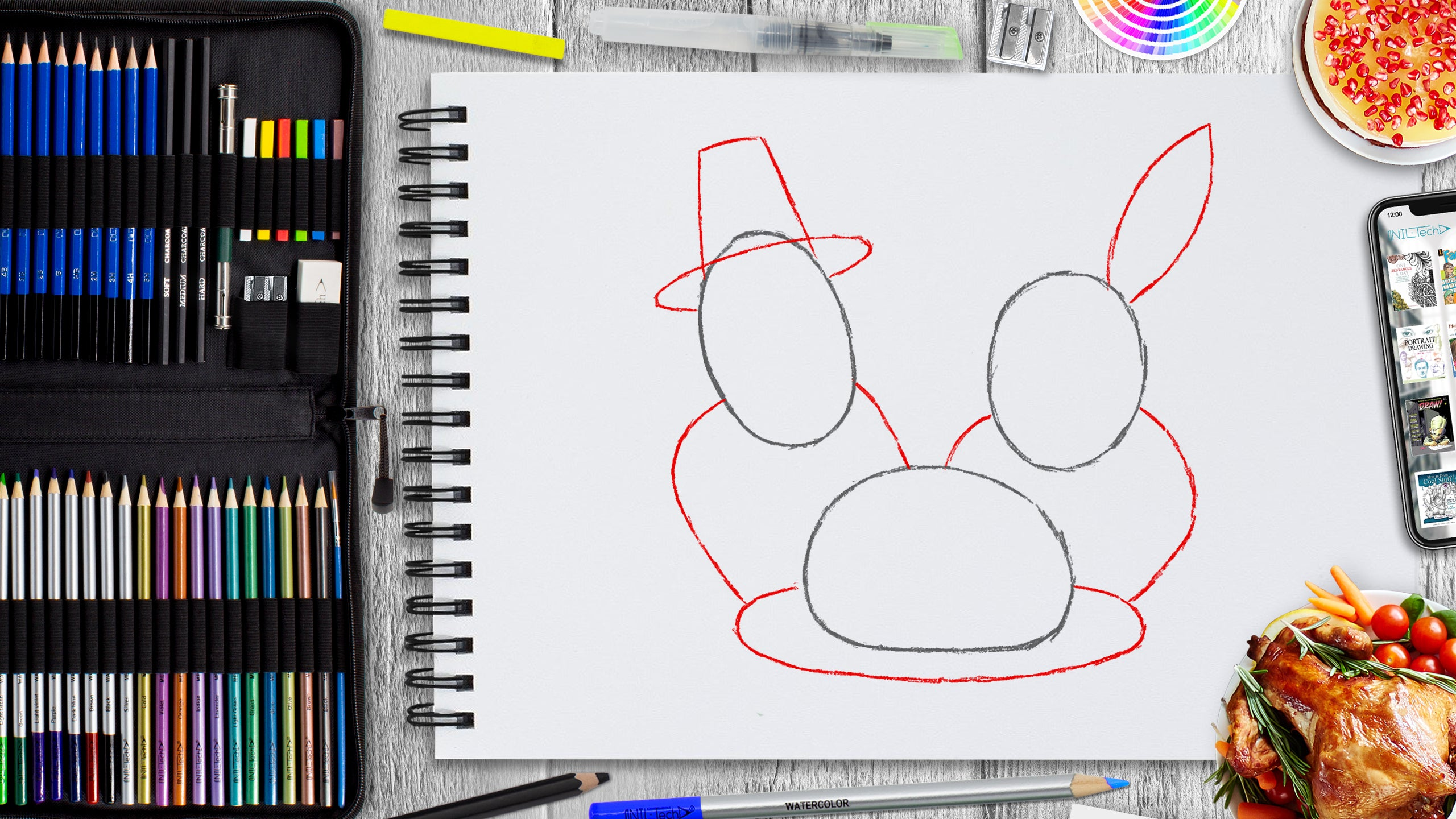 learn to make an easy thanksgiving day drawing