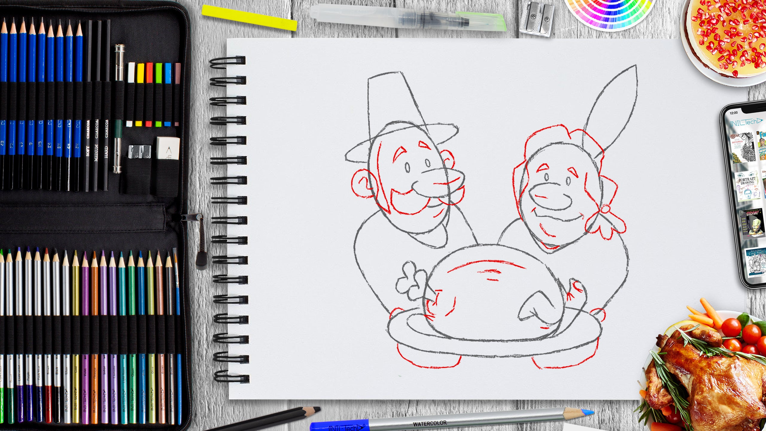 easy thanksgiving day drawing for beginners