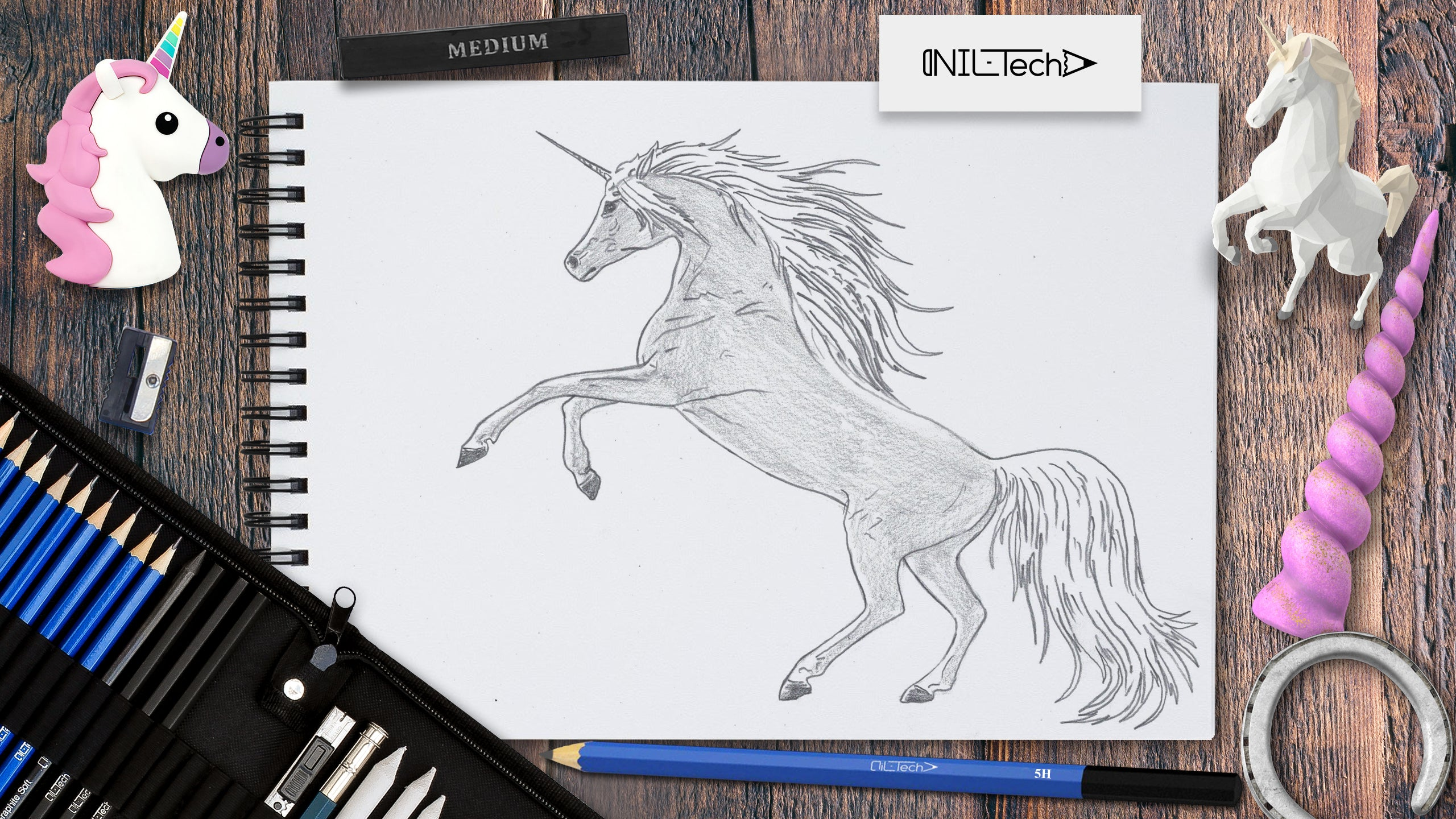 how to draw a cartoon unicorn step by step easy