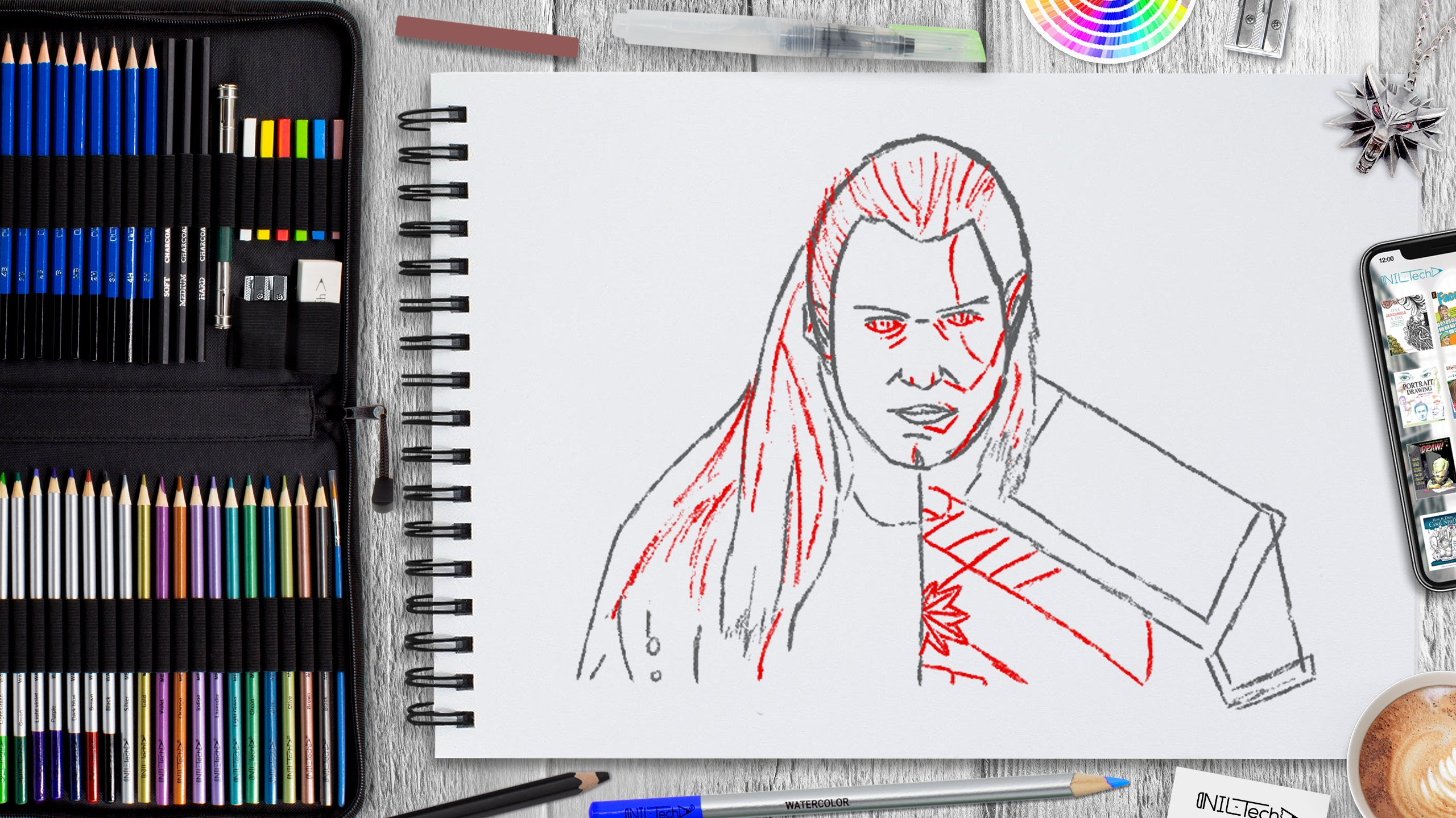 how to draw the witcher step by step