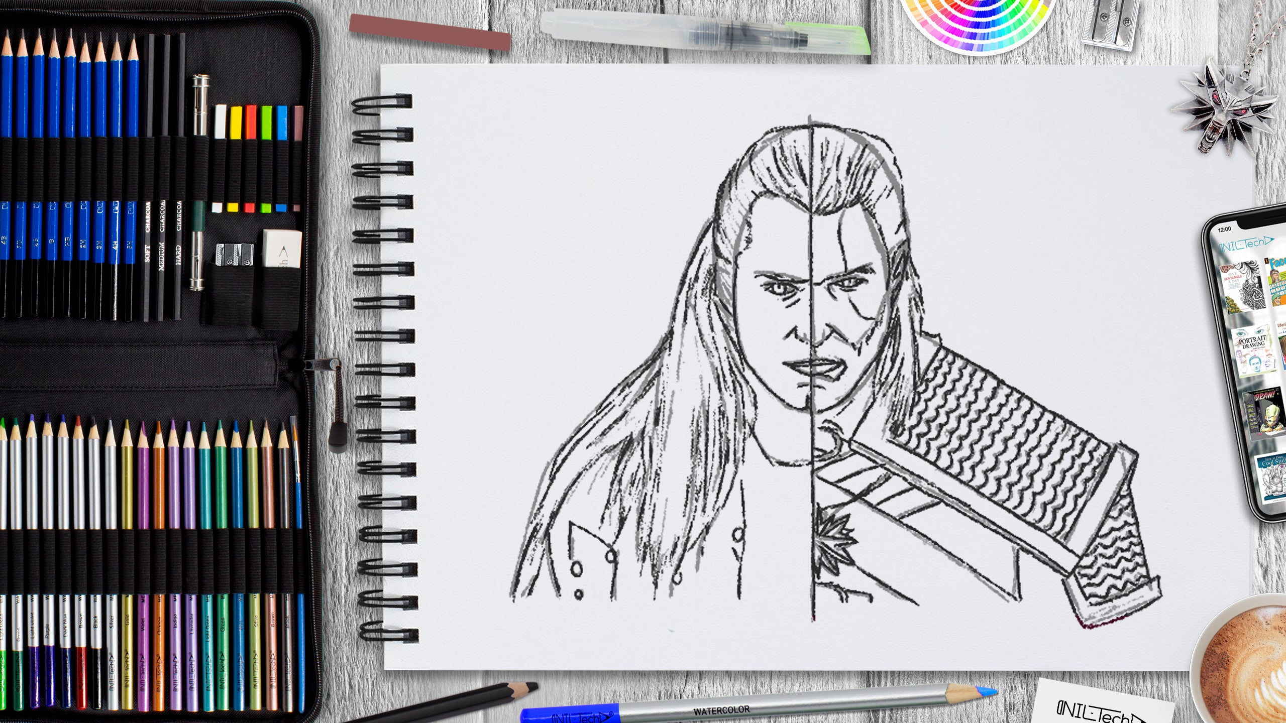 the witcher drawing tutorial for beginners