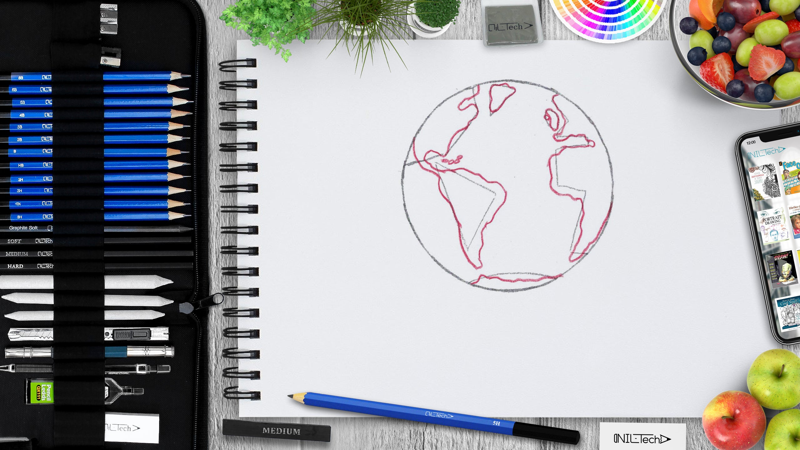 learn how to make an easy world earth day drawing