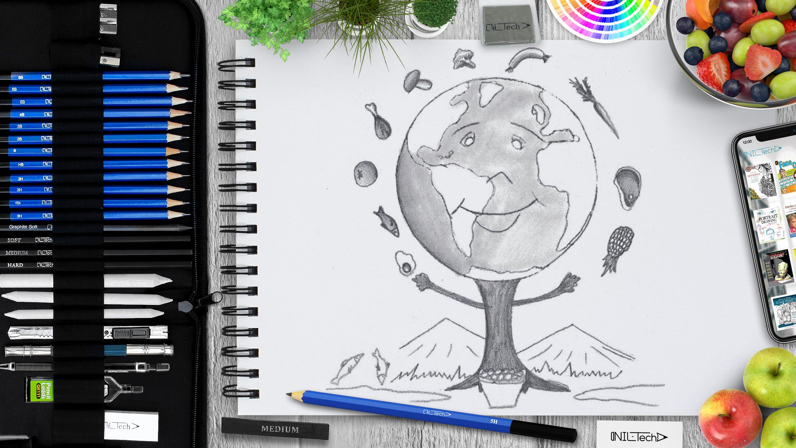 simple world food day step by step pencil drawing tutorial