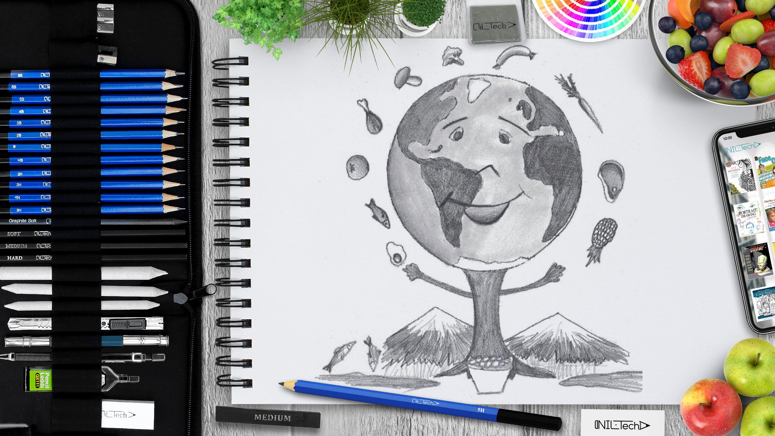 learn how to make world food day drawing step by step