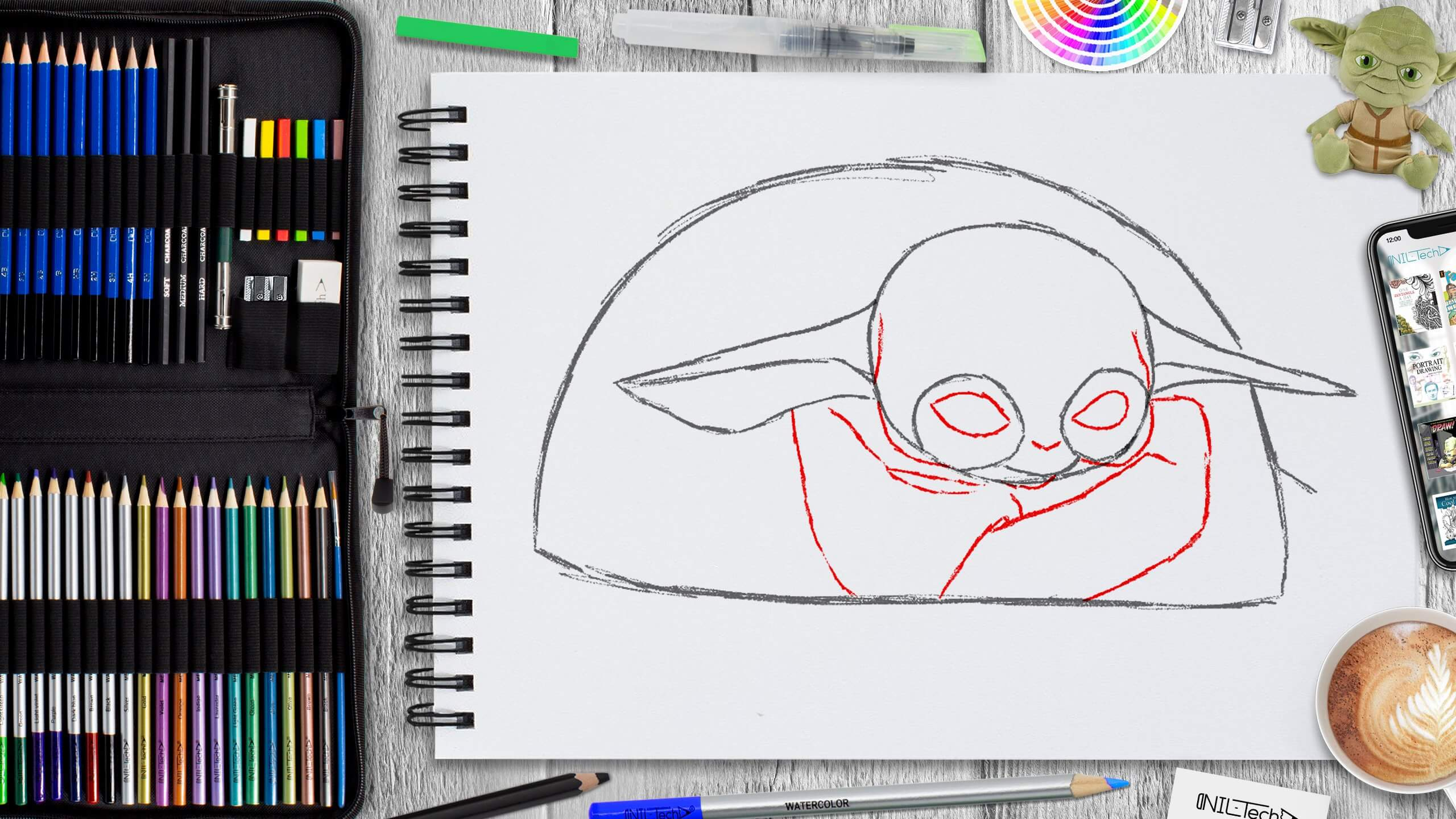 simple baby yoda step by step drawing tutorial