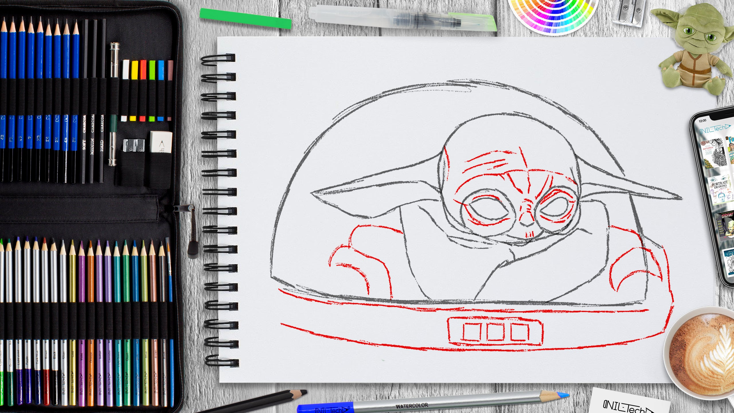 baby yoda drawing tutorial for beginners