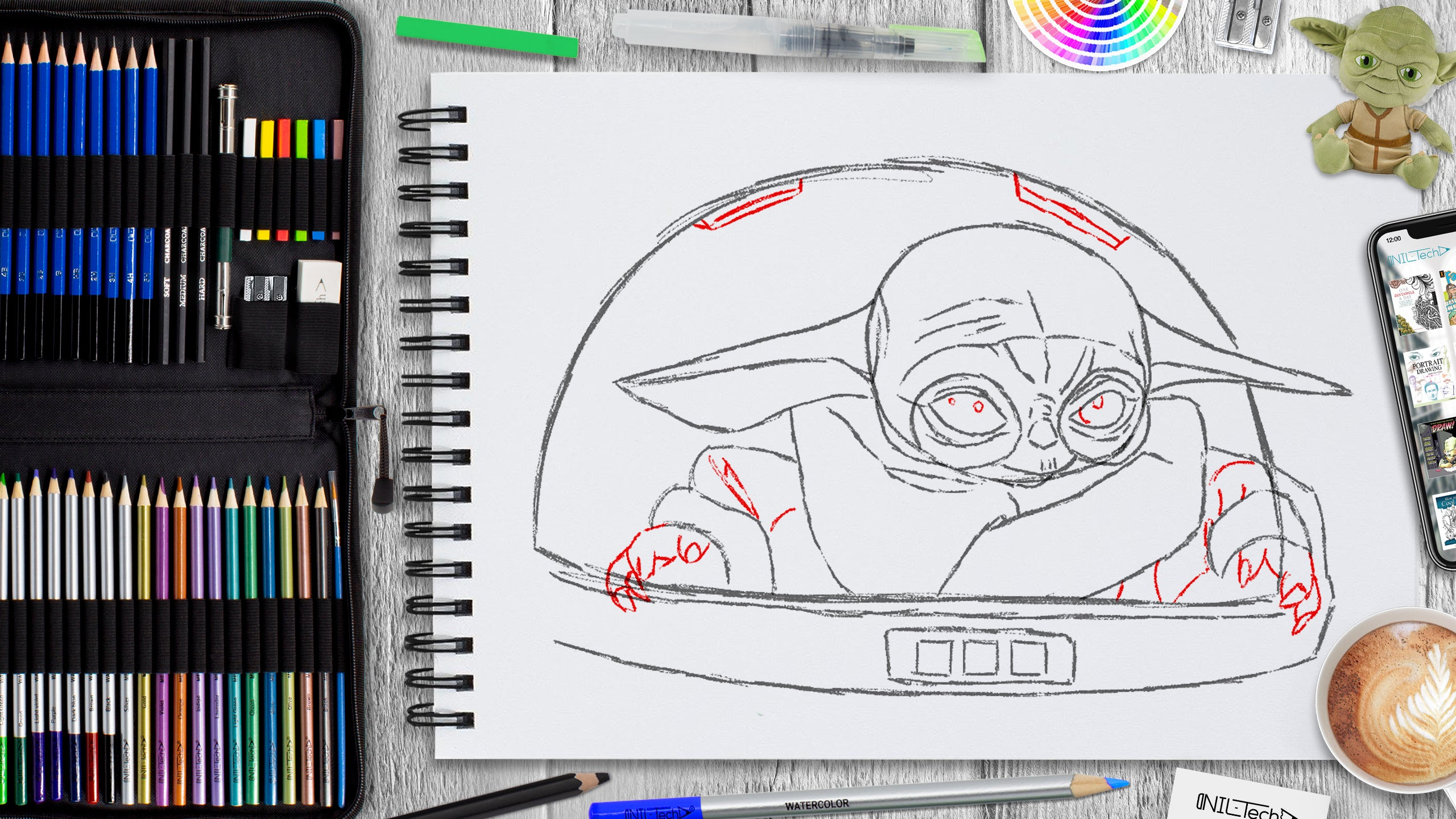 learn to draw baby yoda from mandalorian
