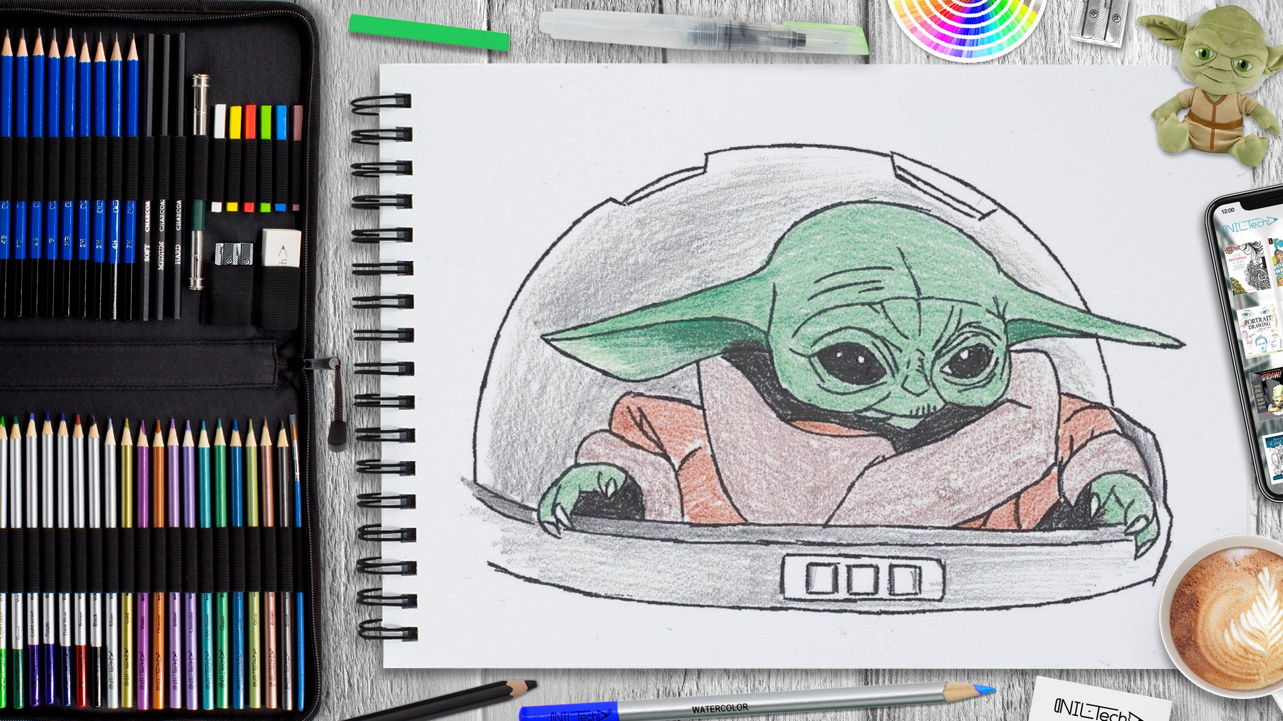 learn how to draw baby yoda from disney+ mandalorian