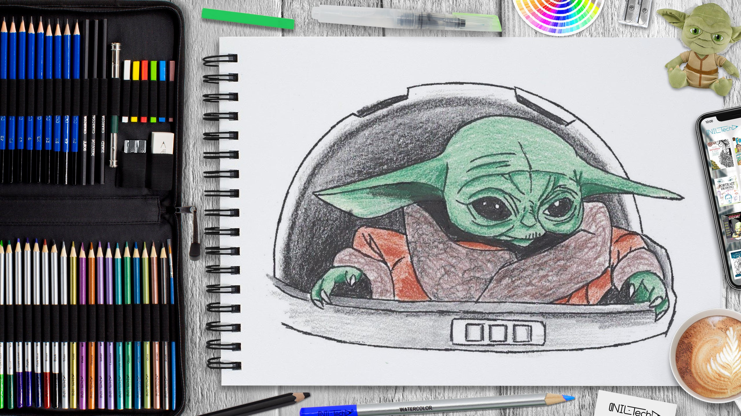 learn to draw baby yoda step by step