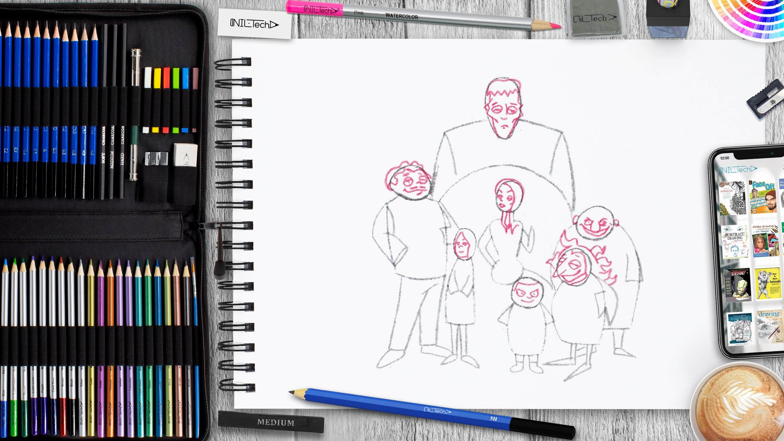 easy the addams family pencil drawing tutorial
