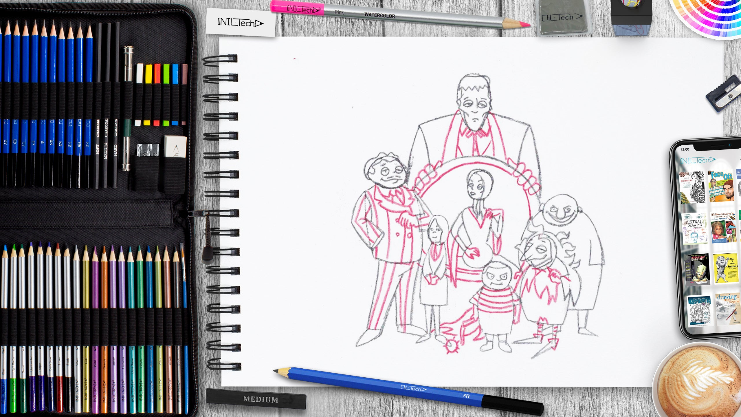 learn how to draw the addams family step by step