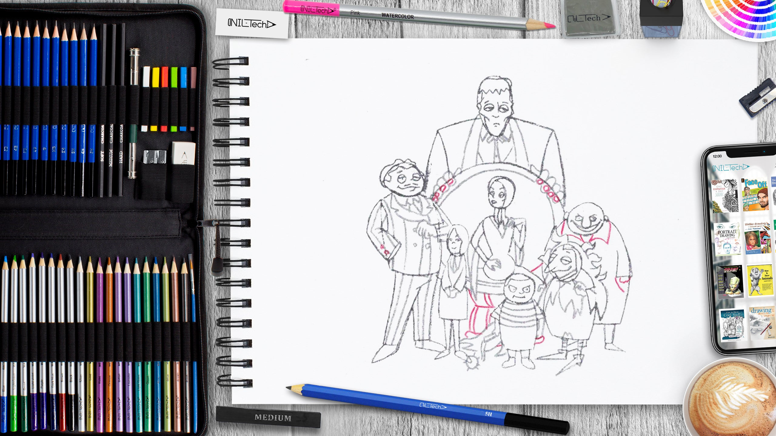 simple the addams family step by step drawing tutorial
