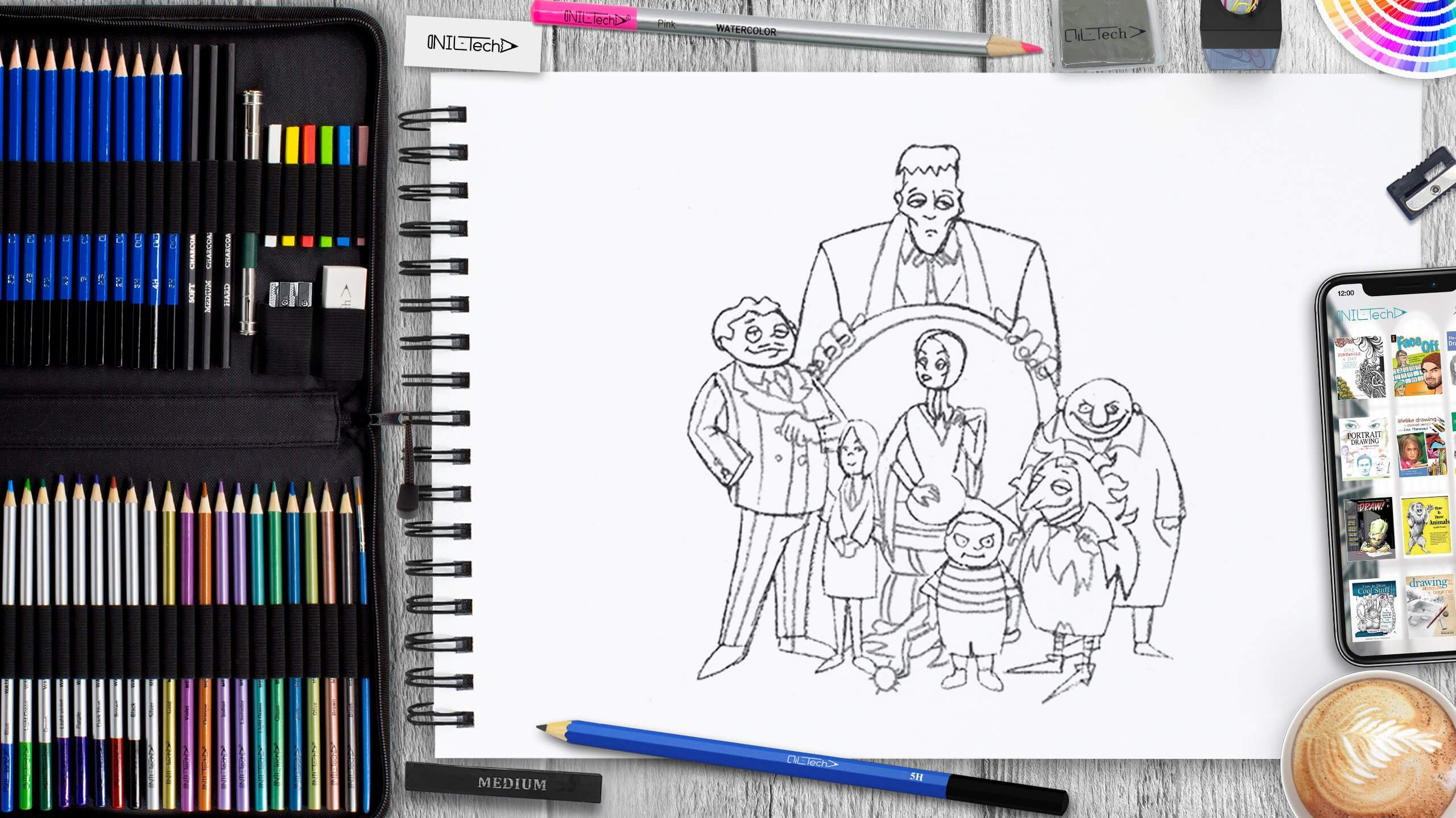 the addams family step by step drawing tutorial