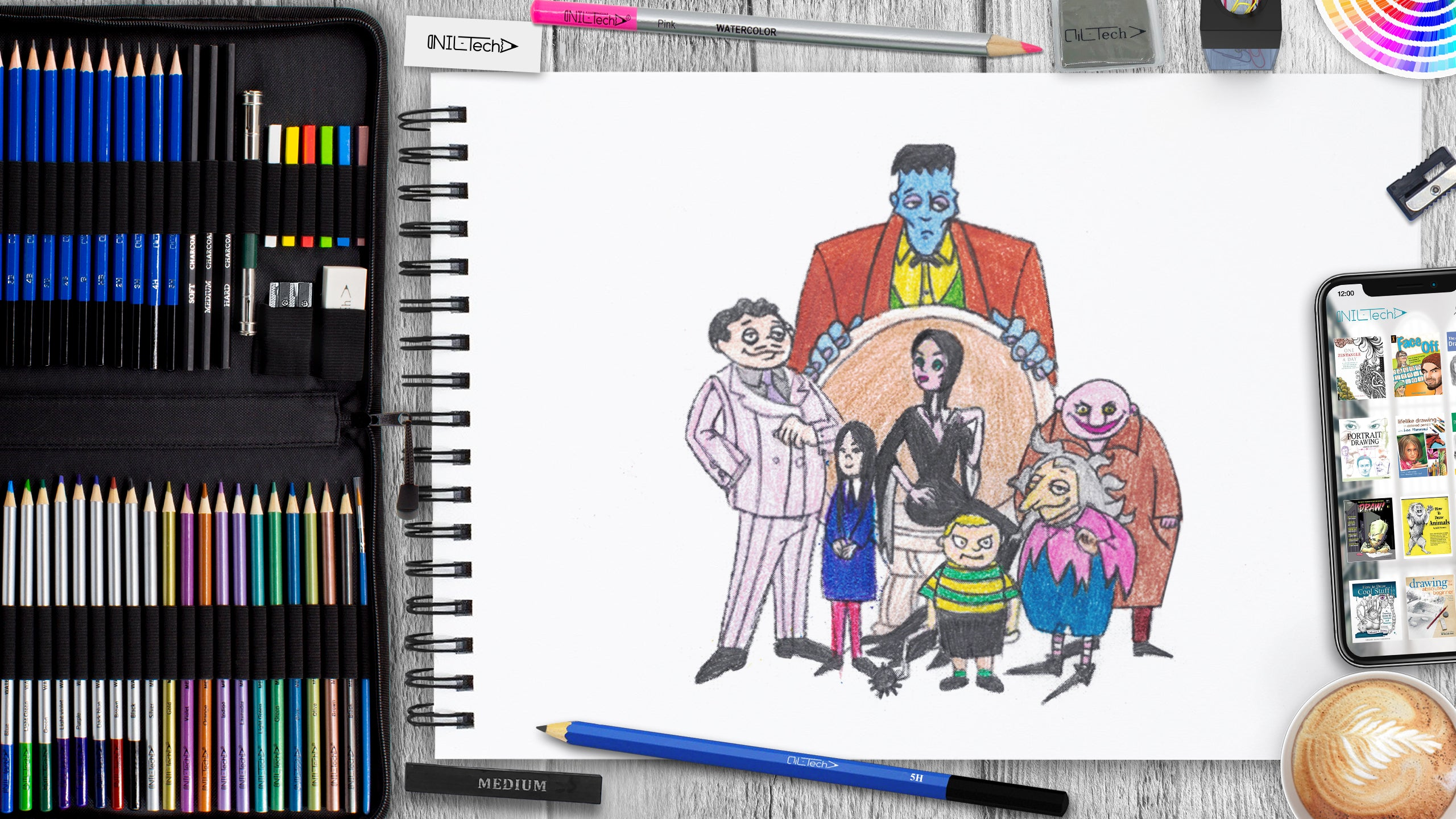 learn how to draw the addams family with pencils