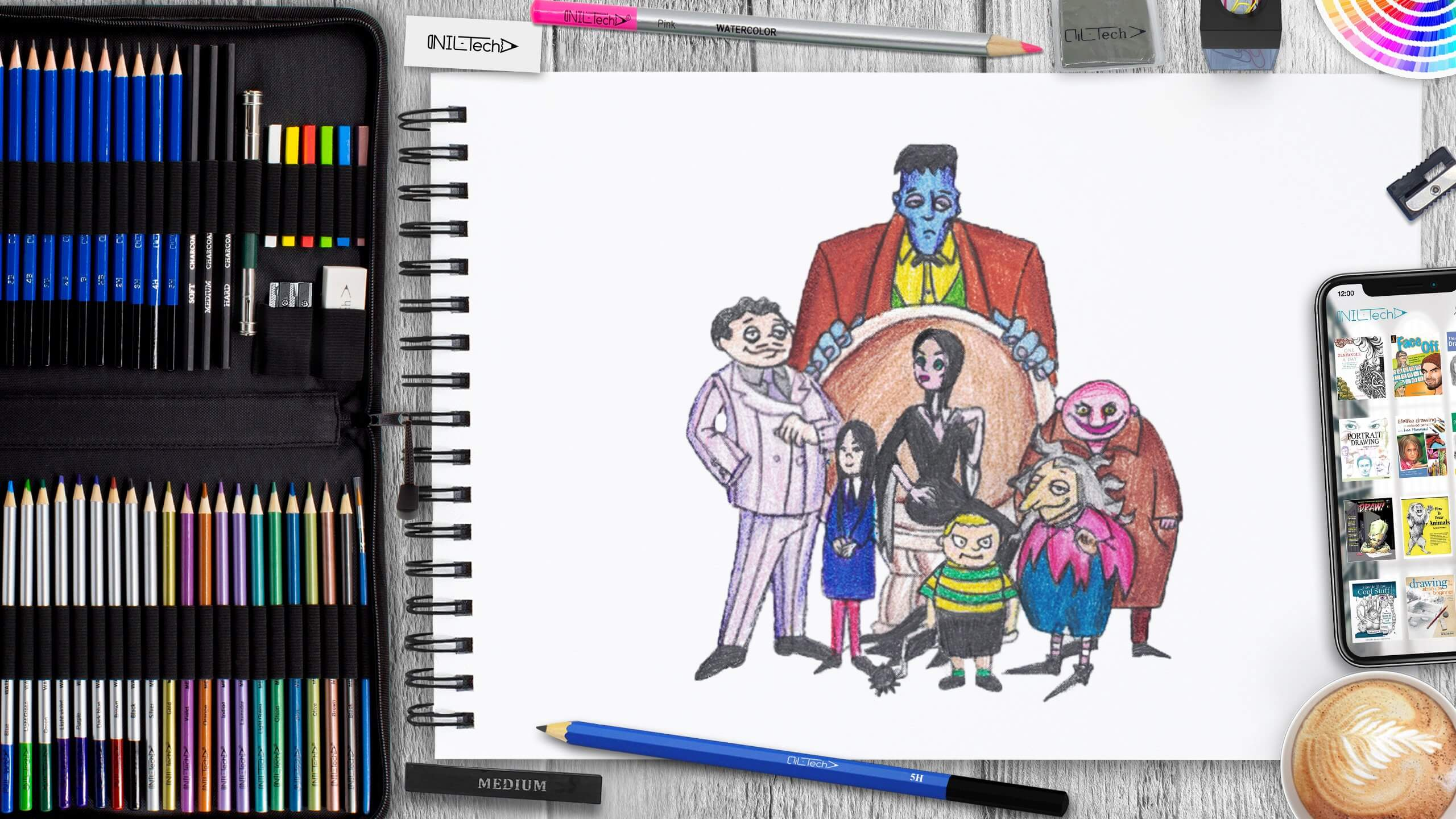 how to draw the Addams family step by step