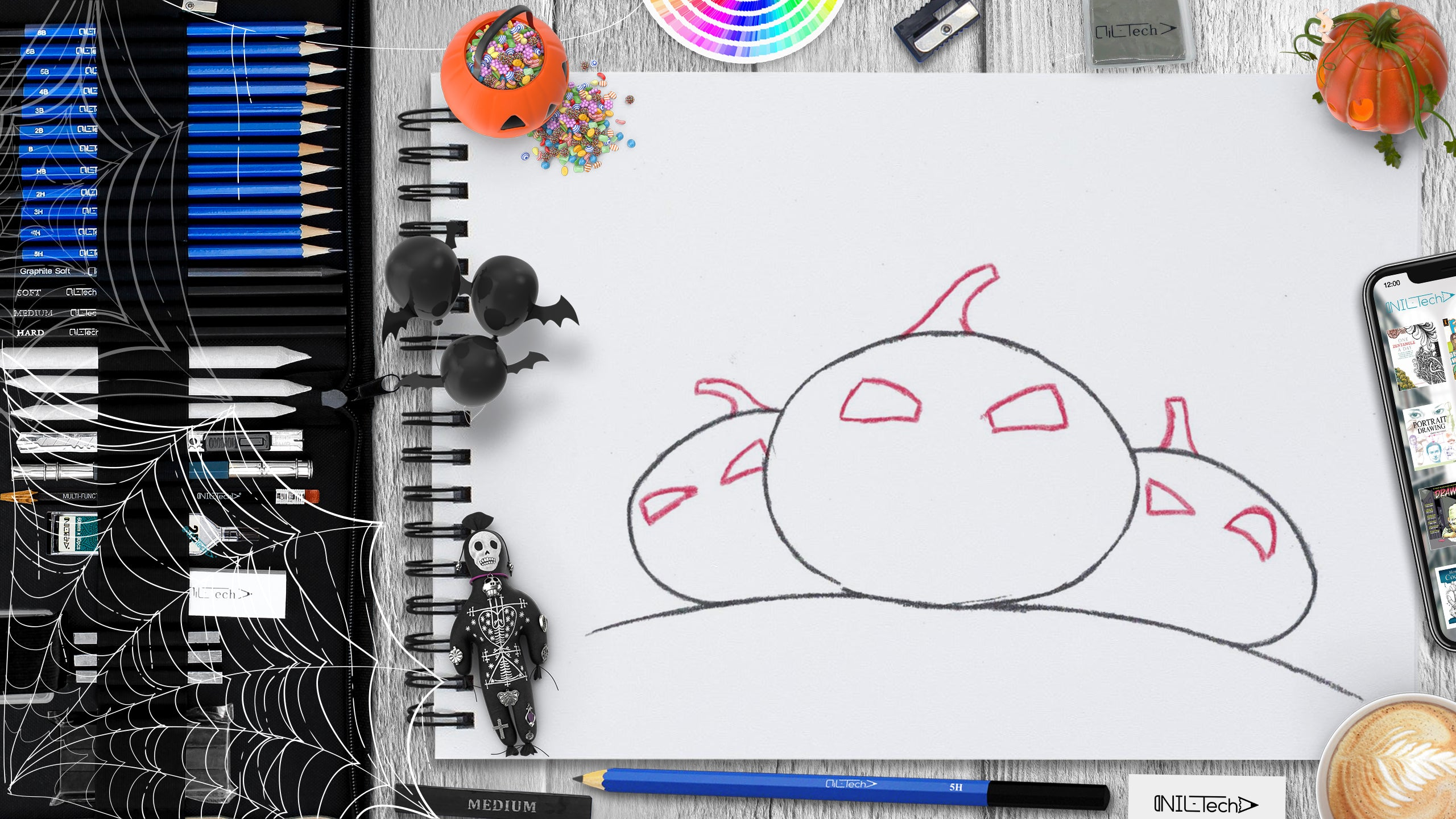 simple Halloween Pumpkin pencil drawing tutorial