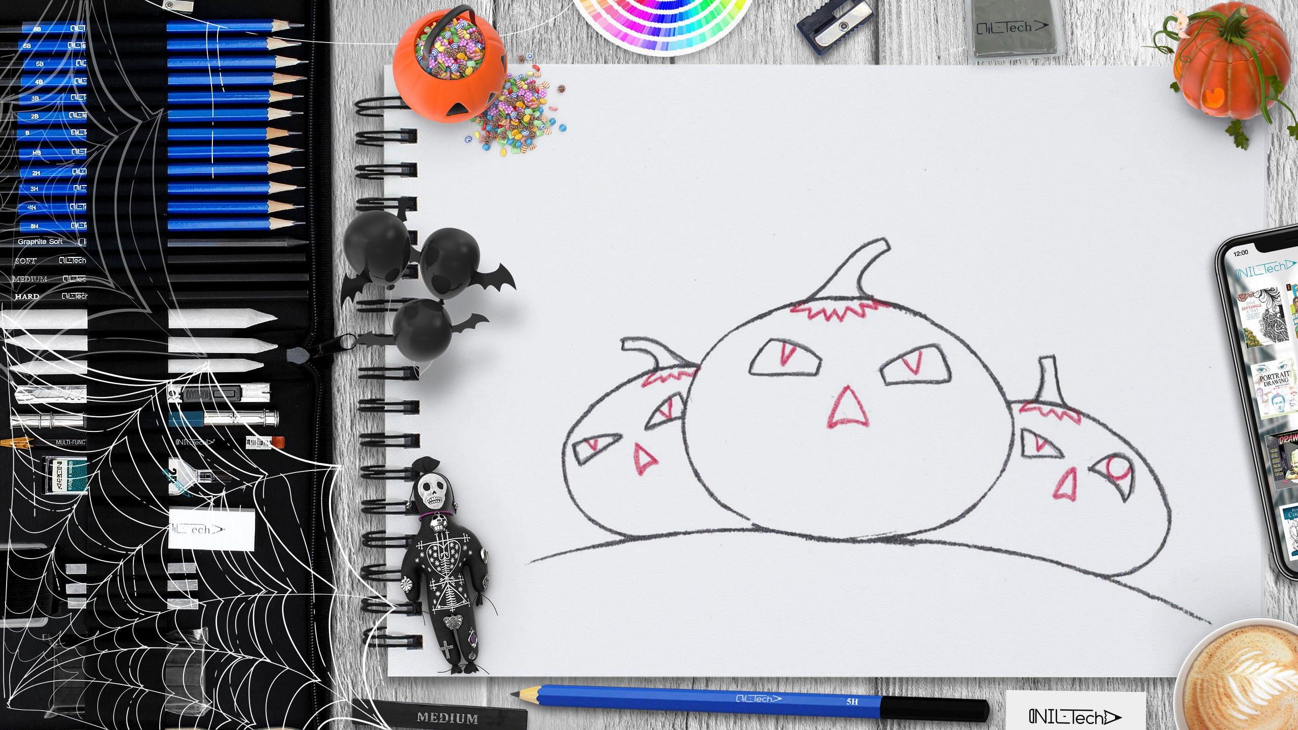 learn to draw Halloween Pumpkin step by step