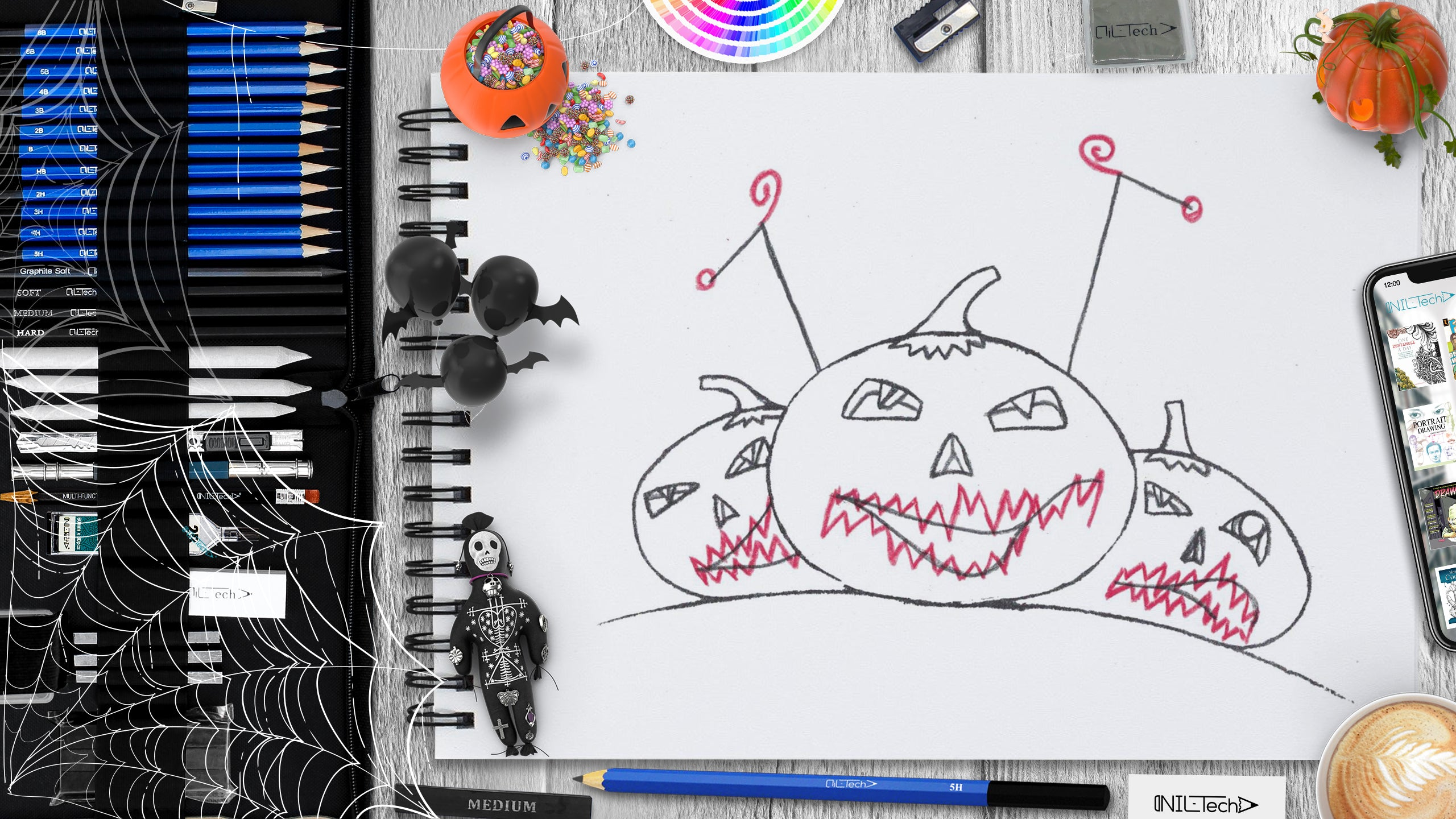 Halloween Pumpkin easy stap by step pencil drawing tutorial