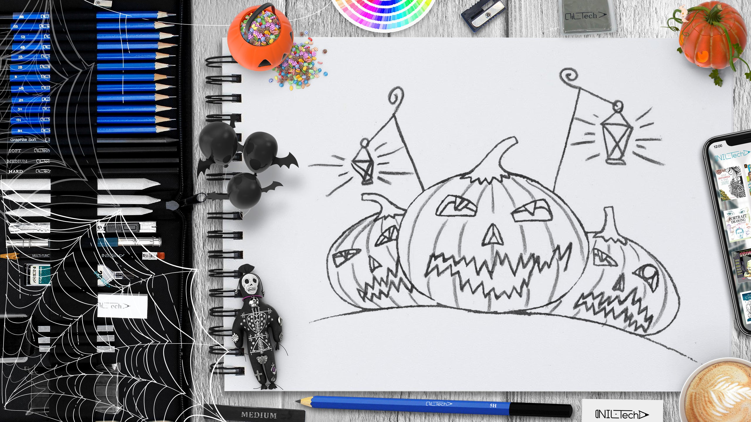 step by step Halloween Pumpkin pencil drawing tutorial