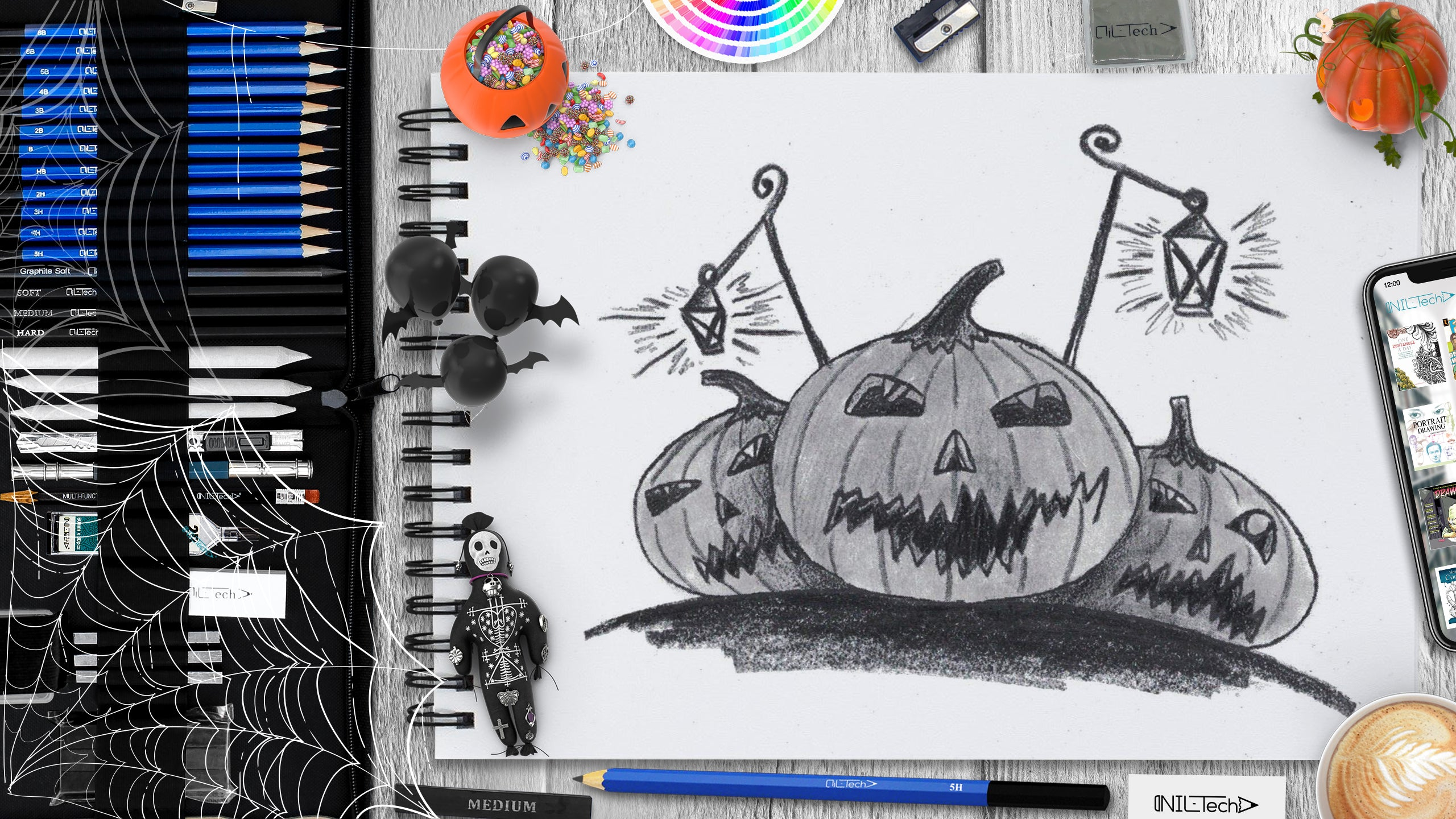Halloween pumpkin step by step drawing tutorial