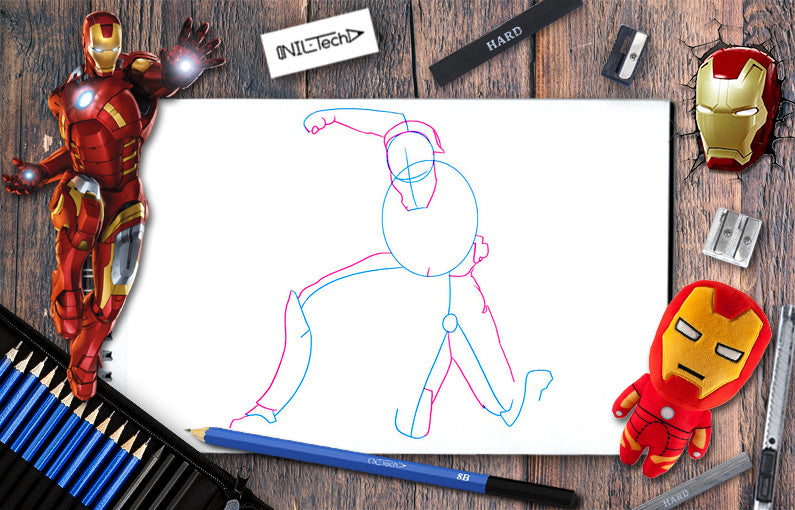 How to draw Iron-man from Avengers: infinity war step by step tutorial view online