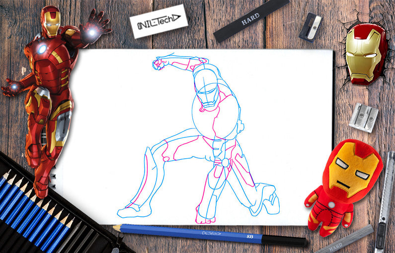 How to draw Iron-man 4 from Avengers: infinity war step by step tutorial view online