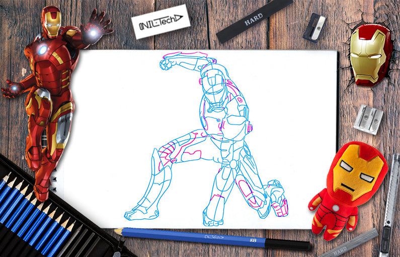 How to draw Iron-man 2 from Avengers: infinity war step by step tutorial view online