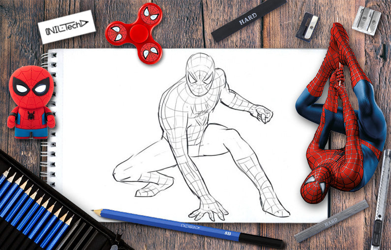 drawing spiderman