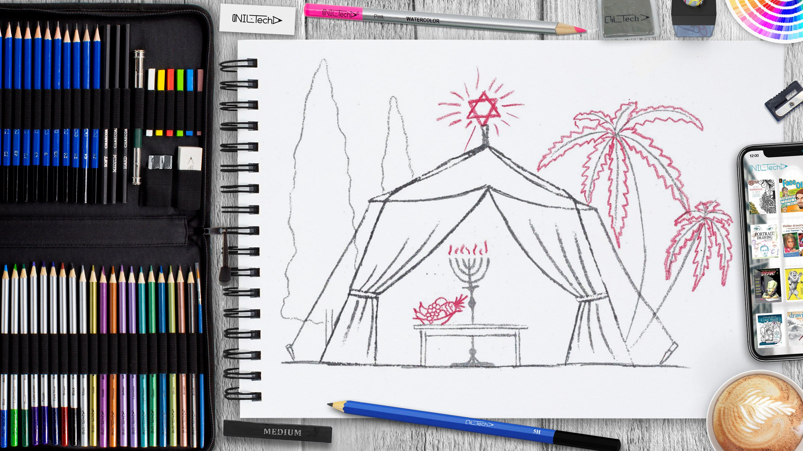 simple sukkot tent step by step pencil drawing tutorial