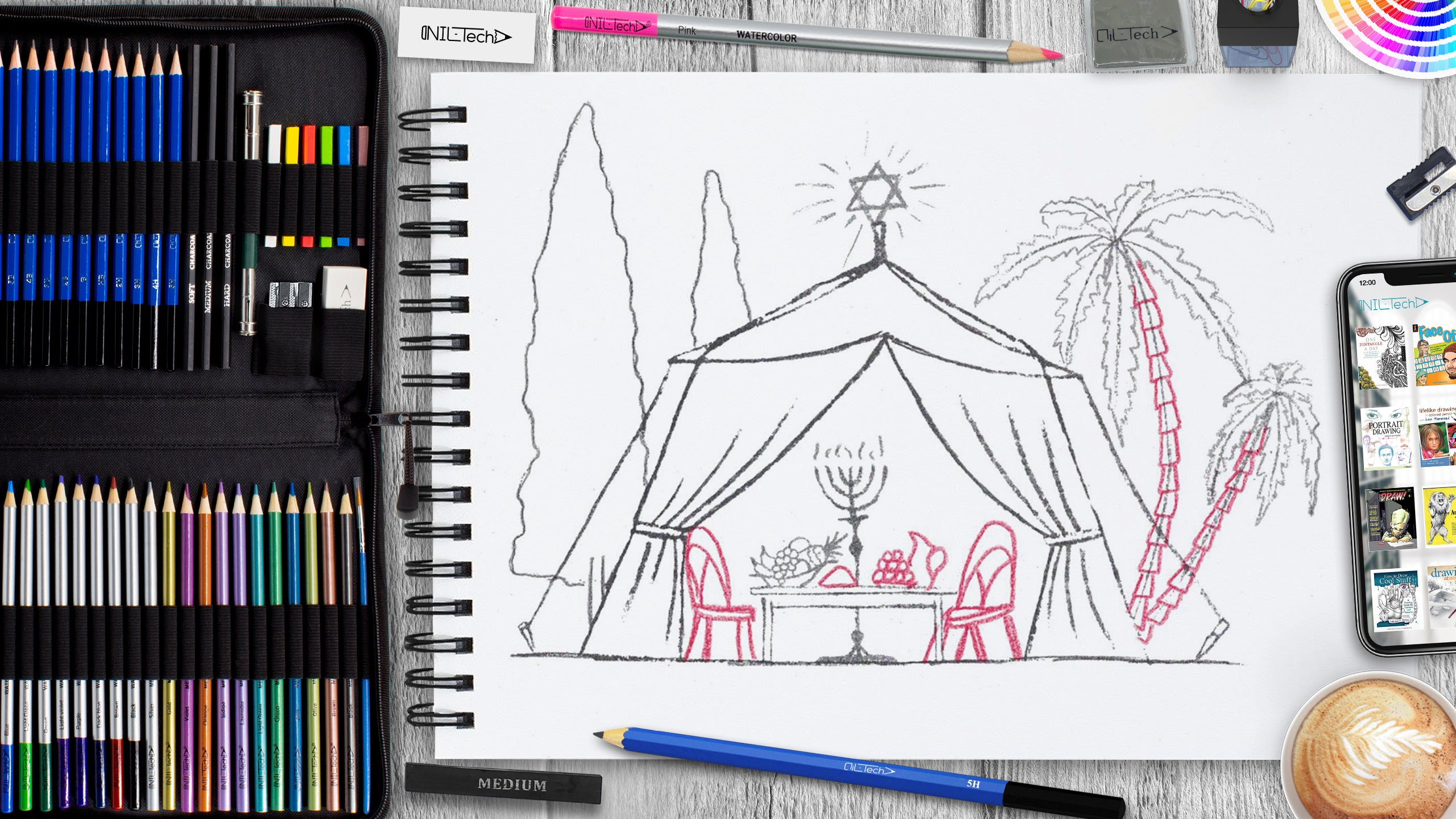 sukkot tent step by step pencil drawing tutorial