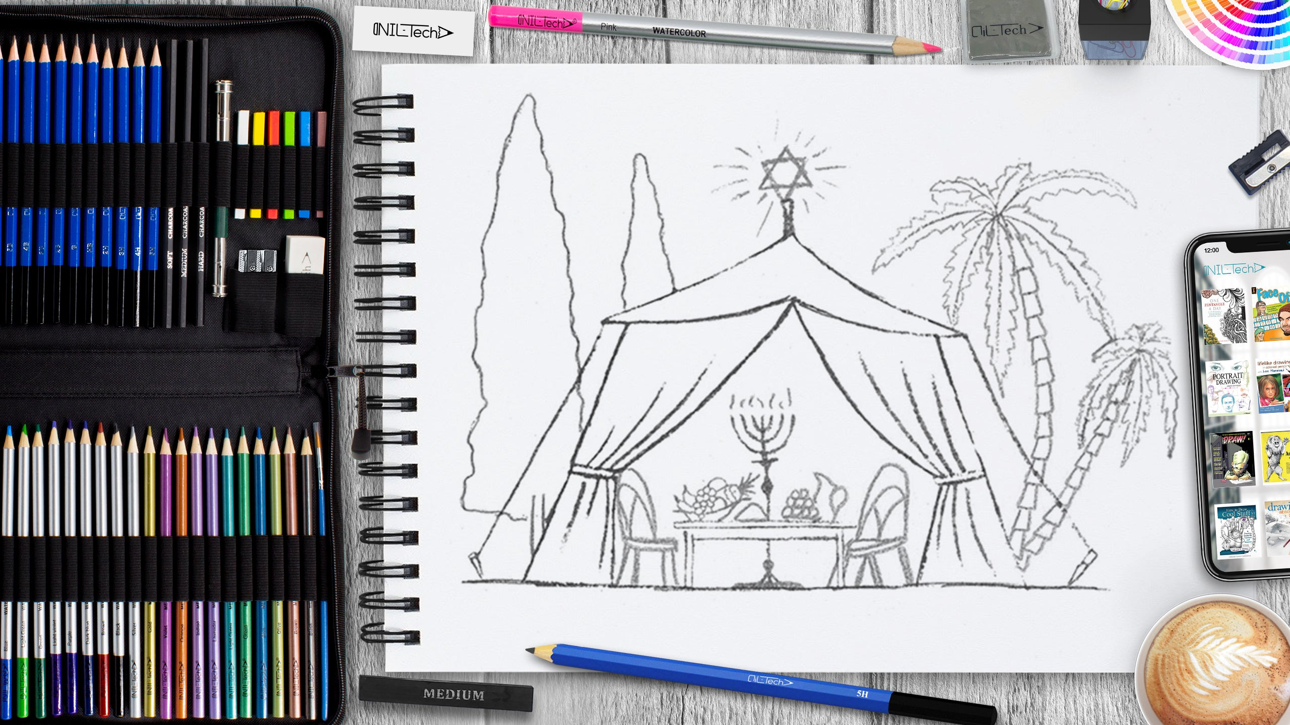 drawing a sukkot tent step by step