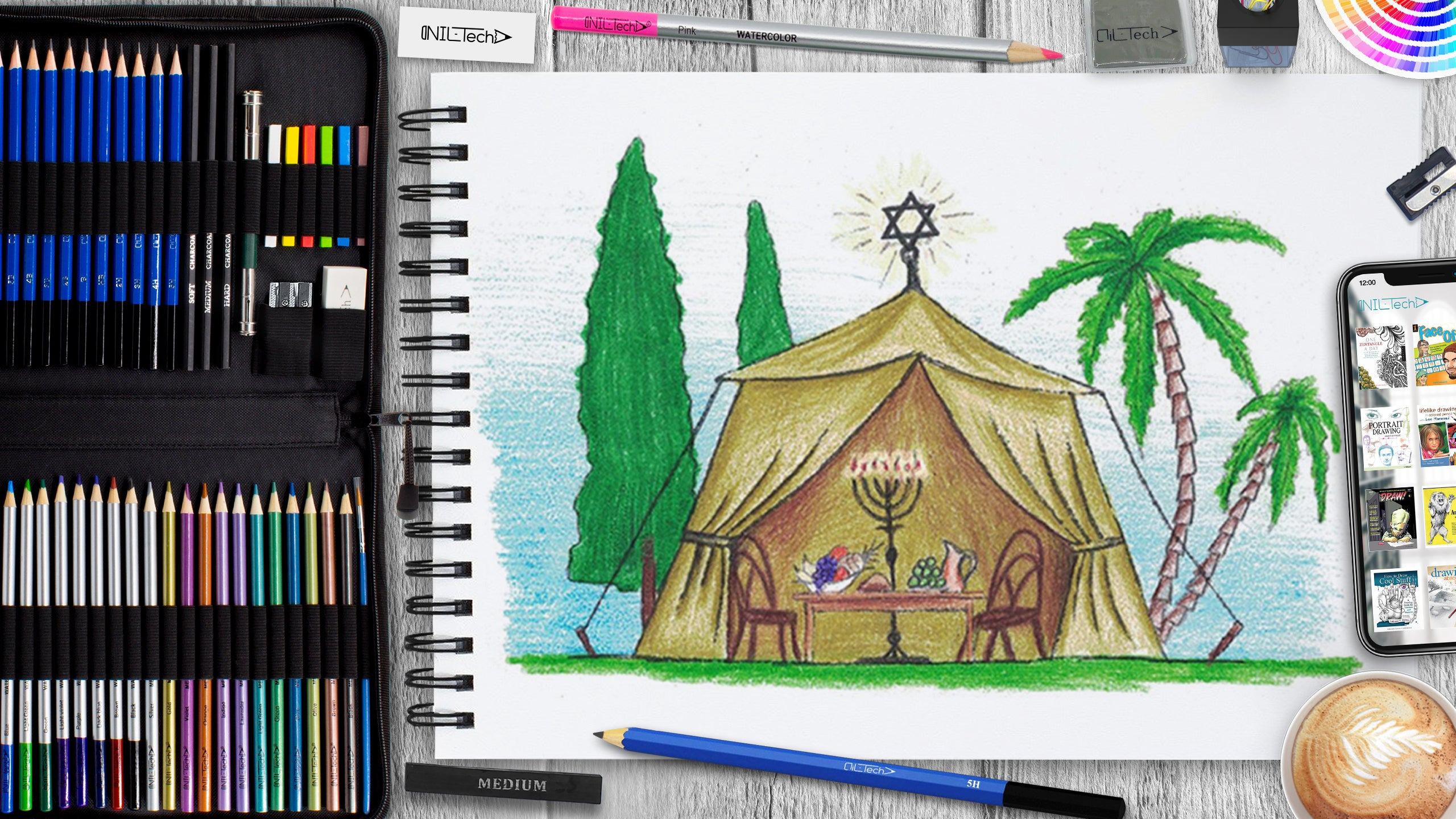 learn how to draw sukkot tent step by step