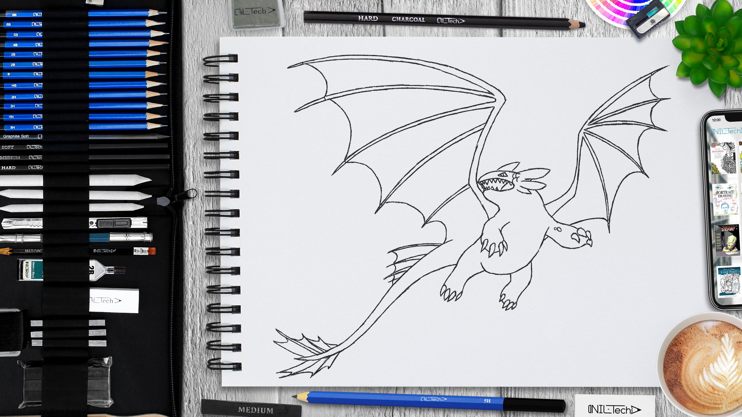 dragon pencil drawing tutorial