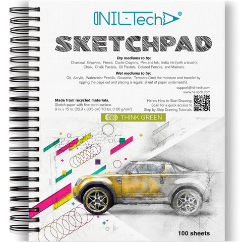 White Paper 9x12 inches Sketch Pad - 100 Pages