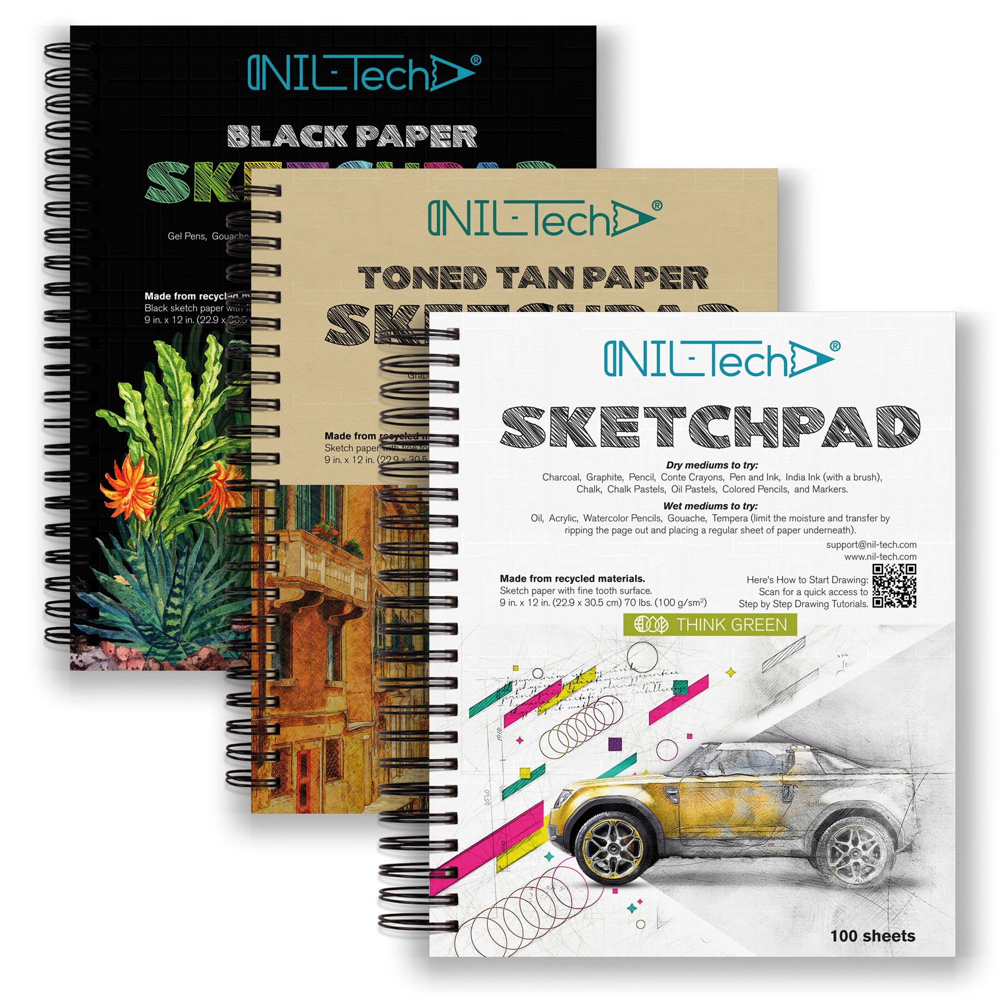 Sketchpads White, Toned Tan, Black (Pack of 3)
