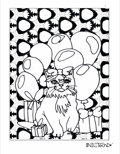 Adult Coloring book with stress relieving cat patters