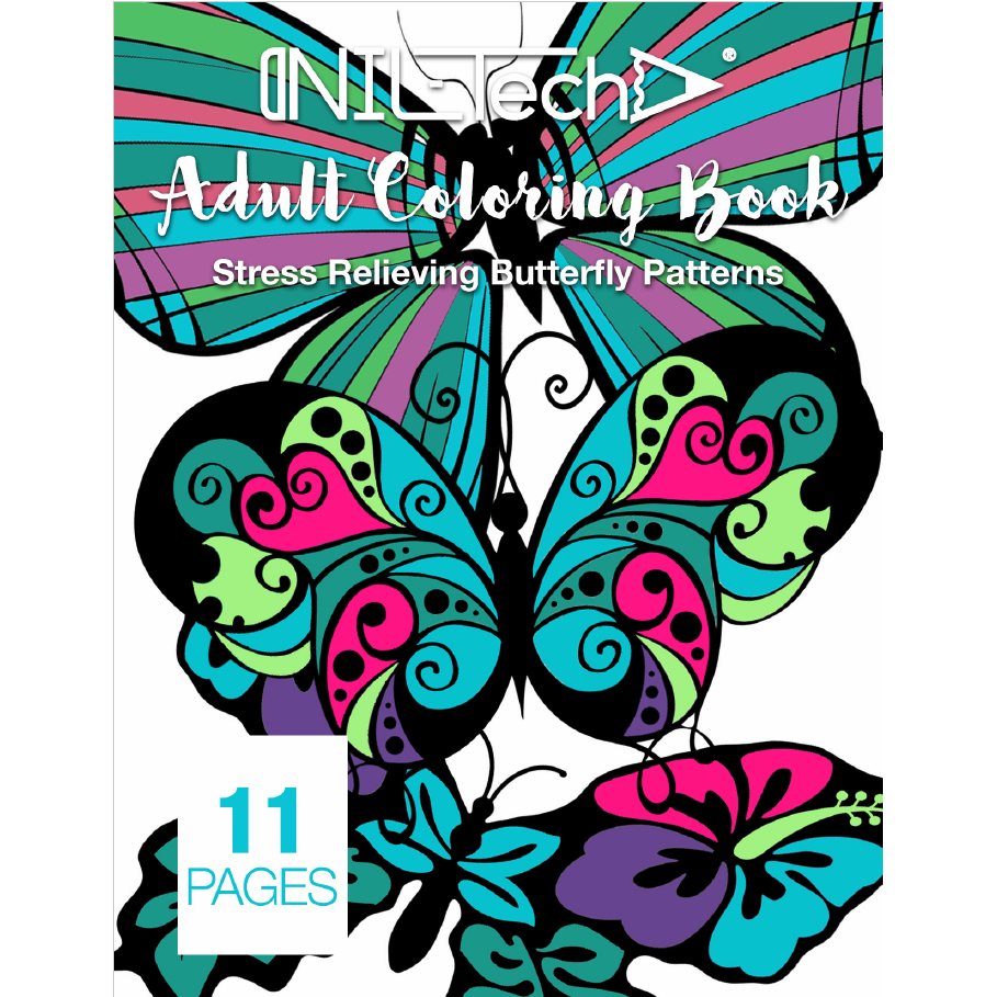 Adult Coloring book with stress relieving Butterflies patters
