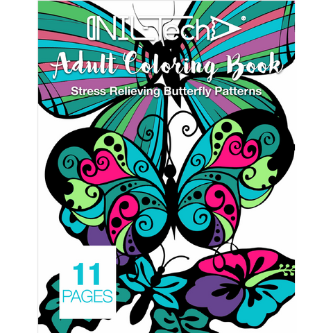 Adult Coloring book with stress relieving Butterflies patterns