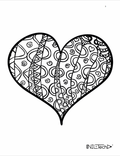 Adult Coloring book with stress relieving Heart patters