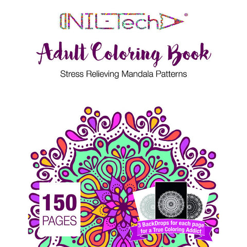 Adult Coloring book with stress relieving mandala patters
