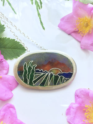 Sunset on a Lavender field Cloisonné Enamel Pendant