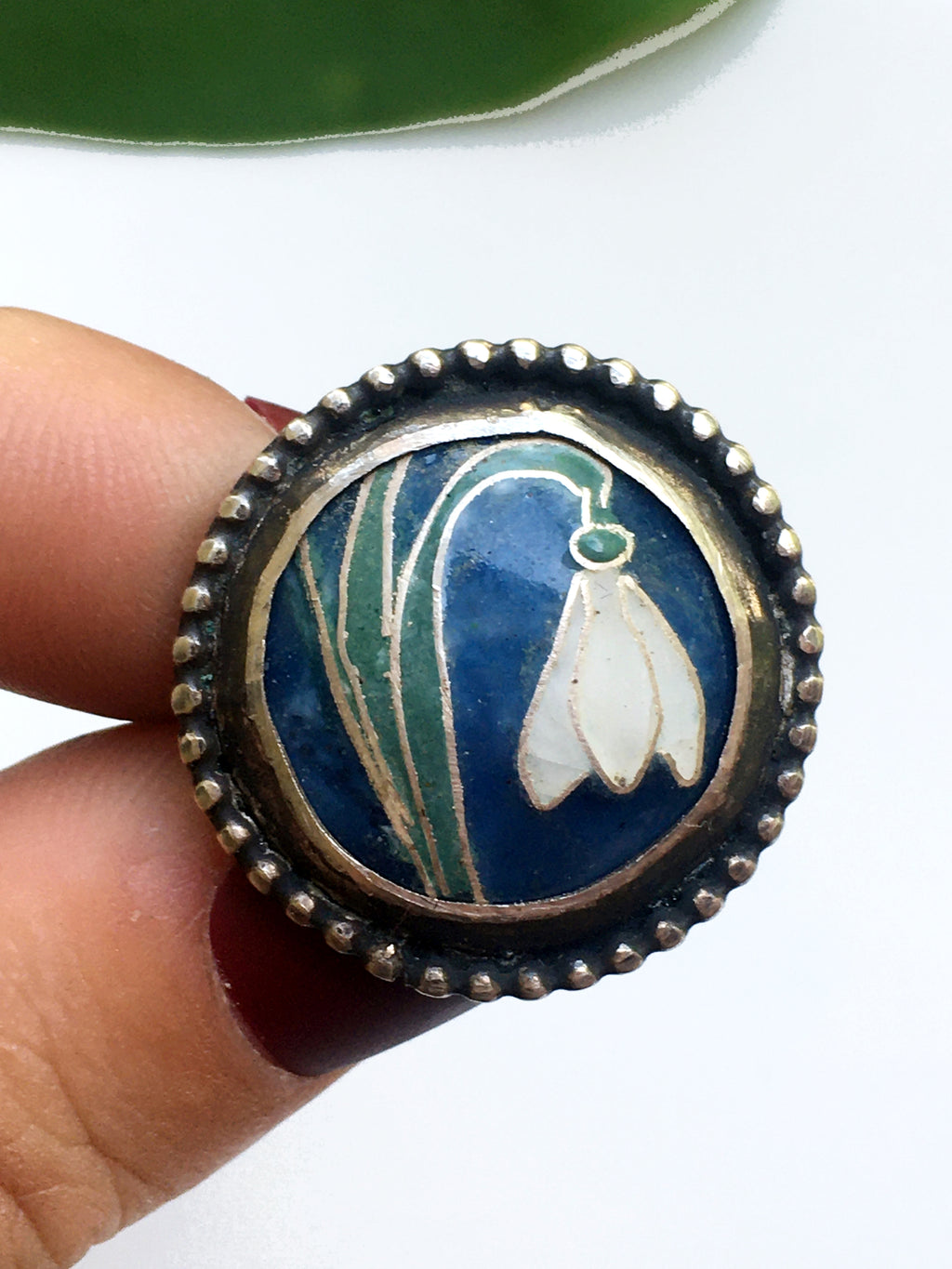 Snowdrop Cloisonné Enamel Sterling Silver Ring-Size 9
