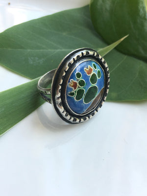 Prickly Pear Cactus Cloisonné Enamel Sterling Silver Ring-Size 8