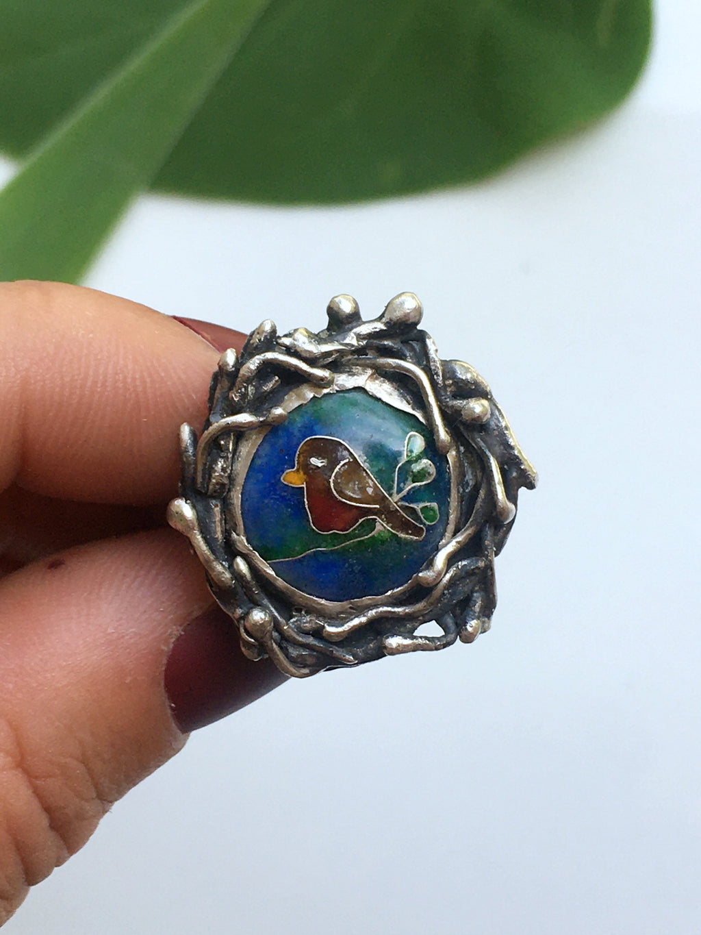 Robin In Nest Cloisonné Enamel Sterling Silver Ring- Size 7