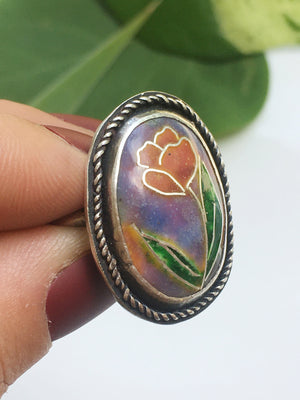 Pink Tulip Cloisonné Enamel Sterling Silver Ring- Size 7
