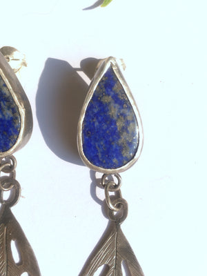 Lapis Lazuli Monstera adansonii Leaf Dangle Studs