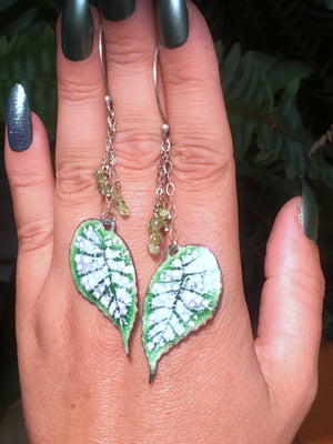 Begonia Leaf Copper Enamel Dangle Studs